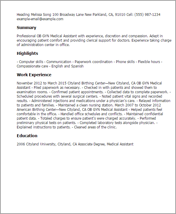 resume templates for ob