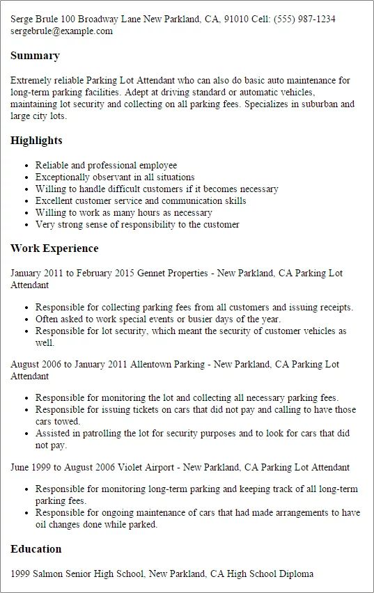 lot attendant resume example