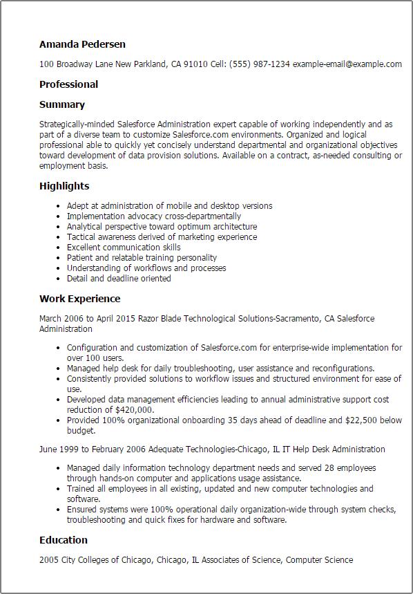 salesforce resume templates