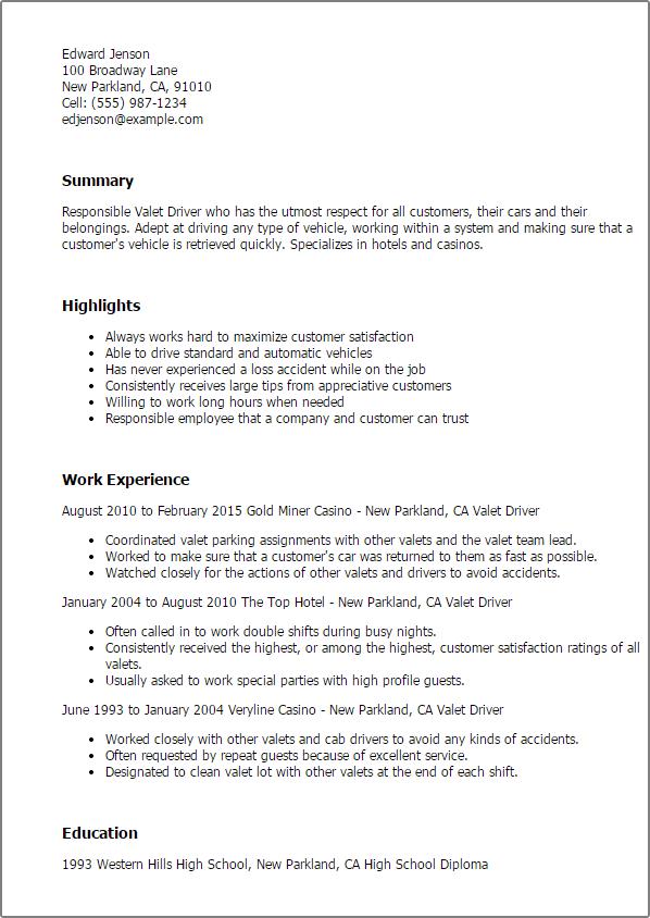 valet parking resume
