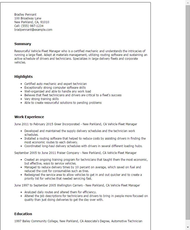 fleet manager resume templates