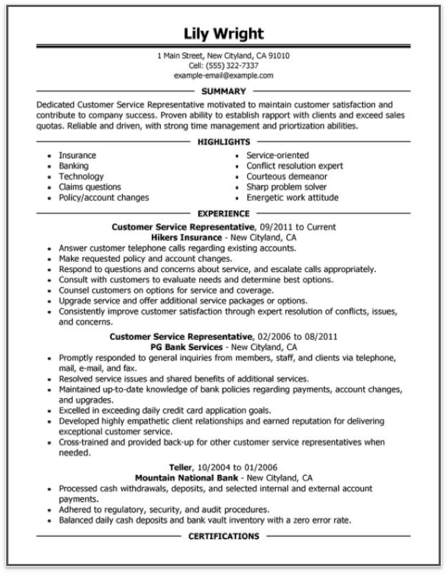 Free Online Resume Samples from MyPerfectResumecom