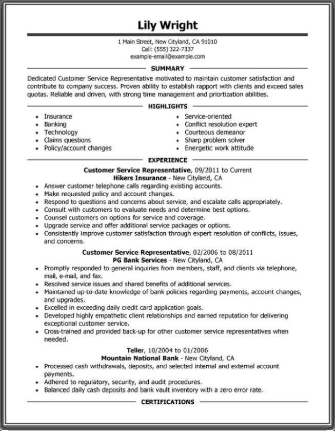 resume template exaple