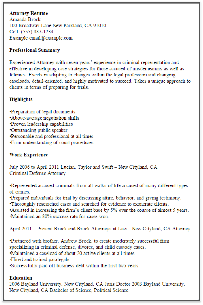show me example of good resume