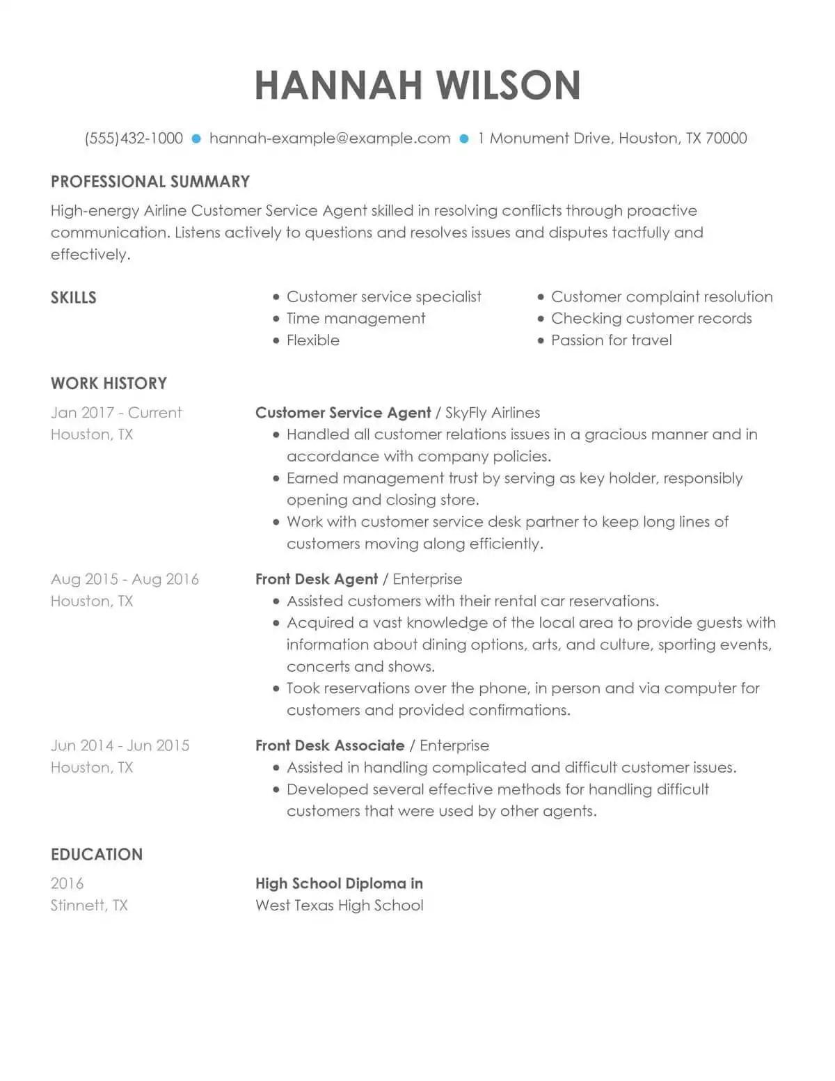 Customer Service Representative Resume Examples  Free to Try Today  MyPerfectResume