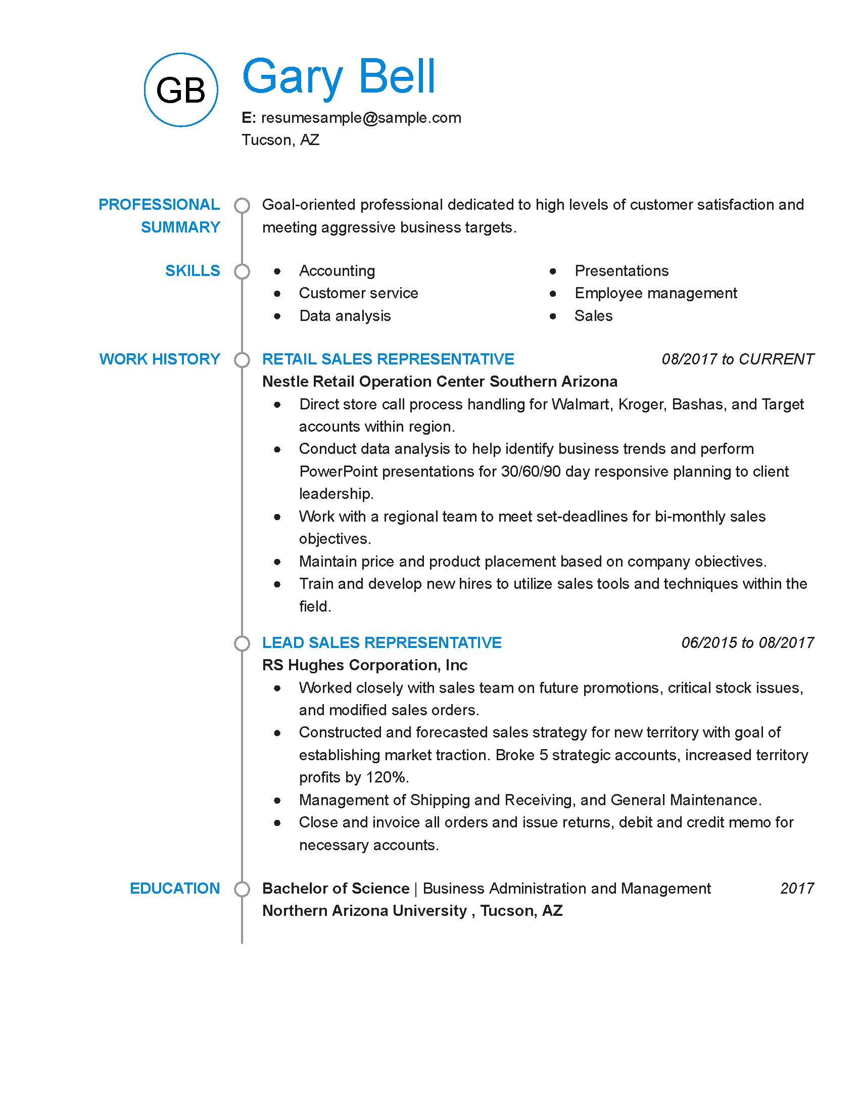 resume words for sales representative