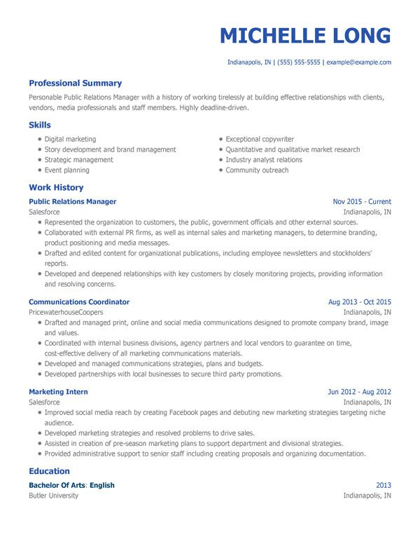 formal resumes examples