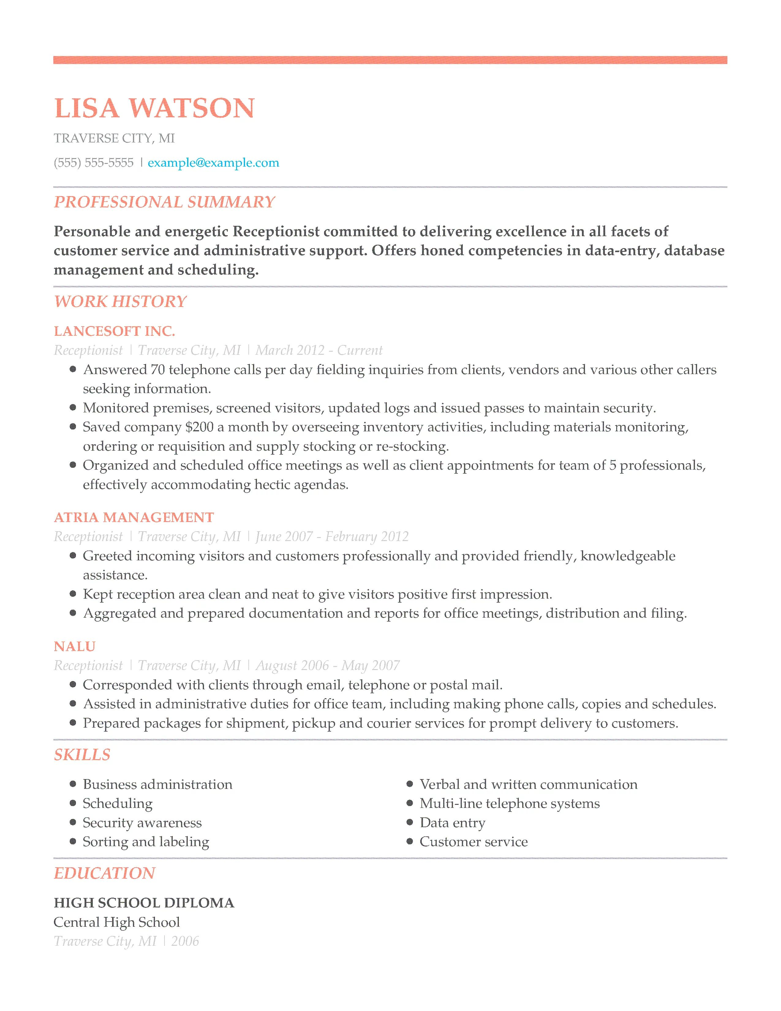 discuss your resume example answer