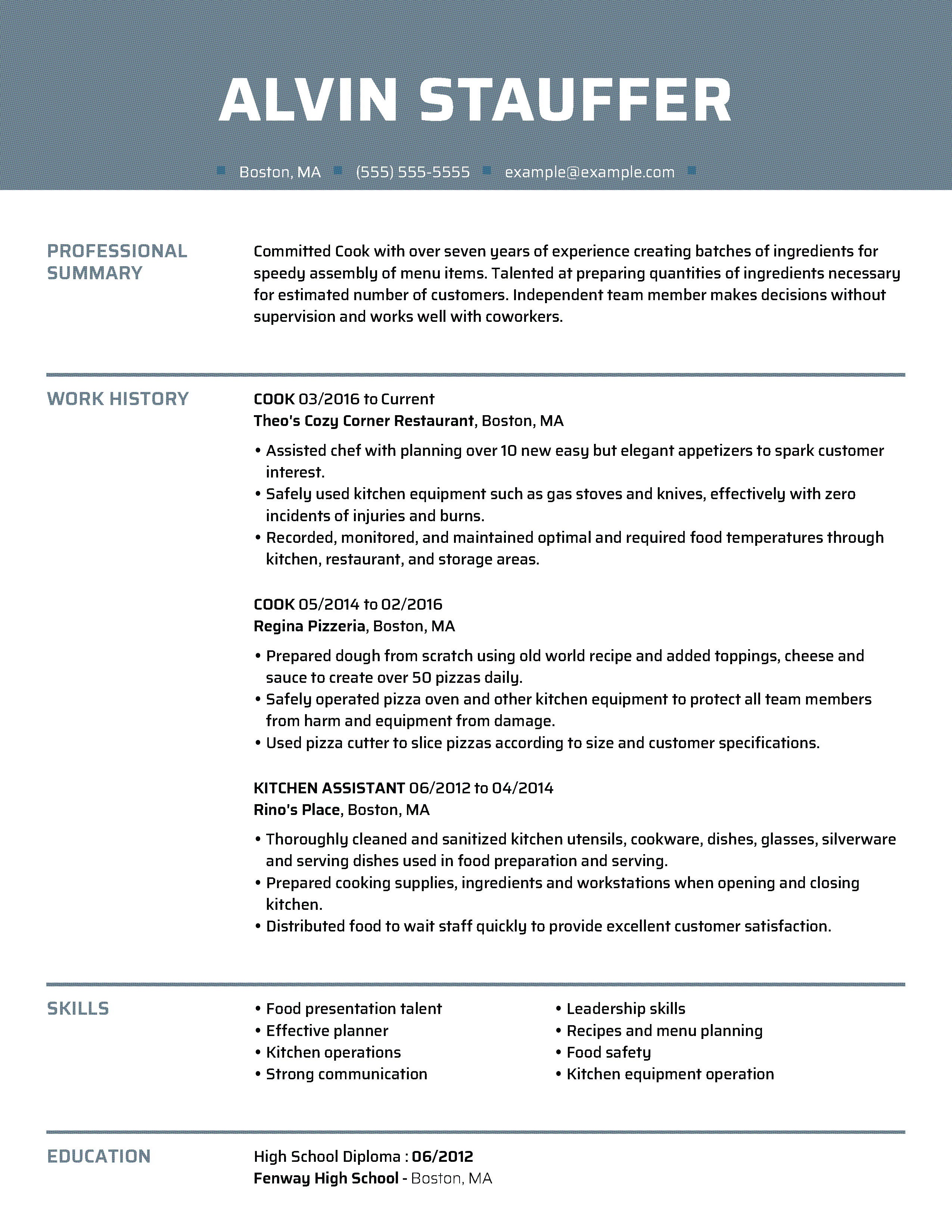 Learn what fonts, font sizes, and formats to use for a clean and functional resume design. Quality Cook Resume Example   MyPerfectResume