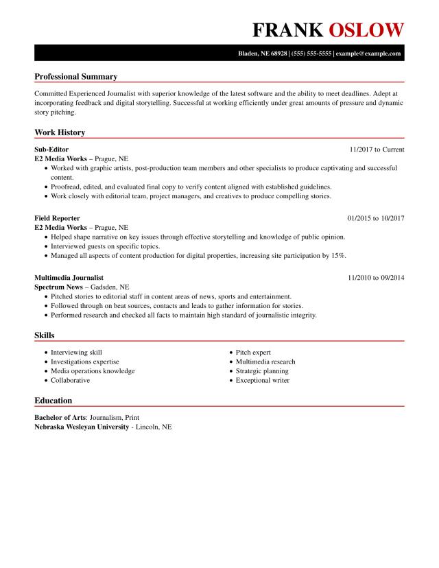 Winning Journalist Resume Example  MyPerfectResume