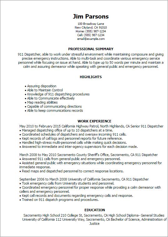 Sample Dispatcher Resume