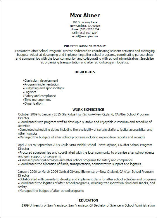 Professional After School Program Director Resume