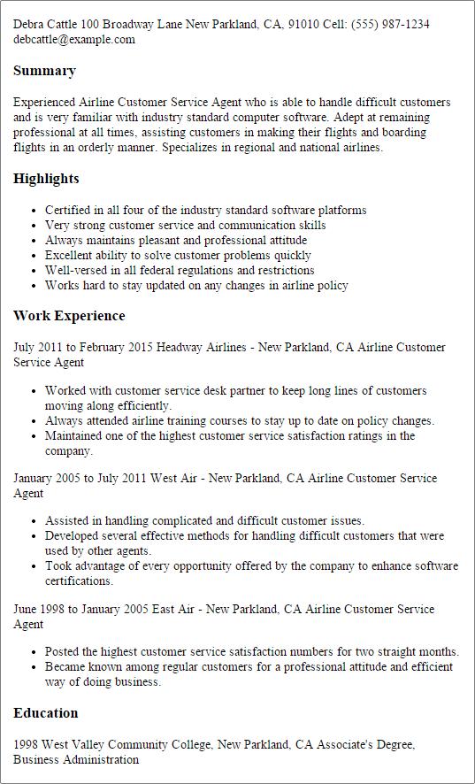 customer service role description