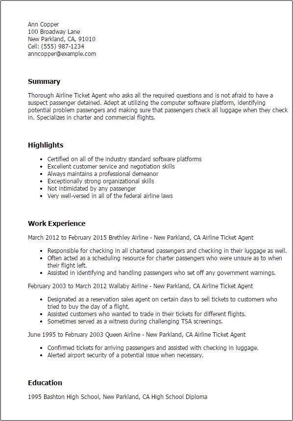 Airline reservation agent resume sample January 2021