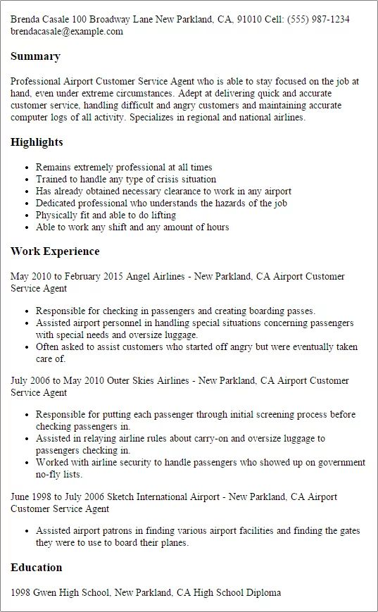 good customer service examples for resume