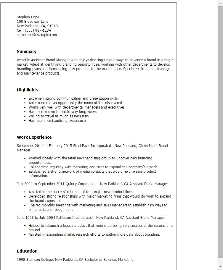 assistant brand manager resumes