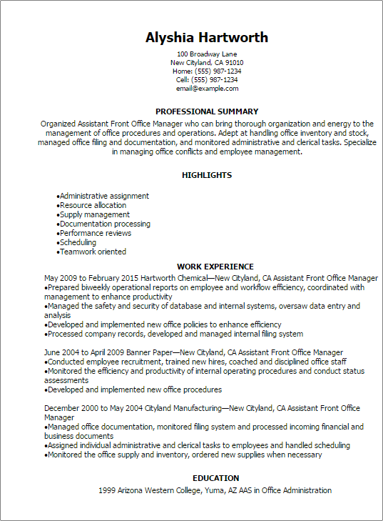 example of front office summary for resume