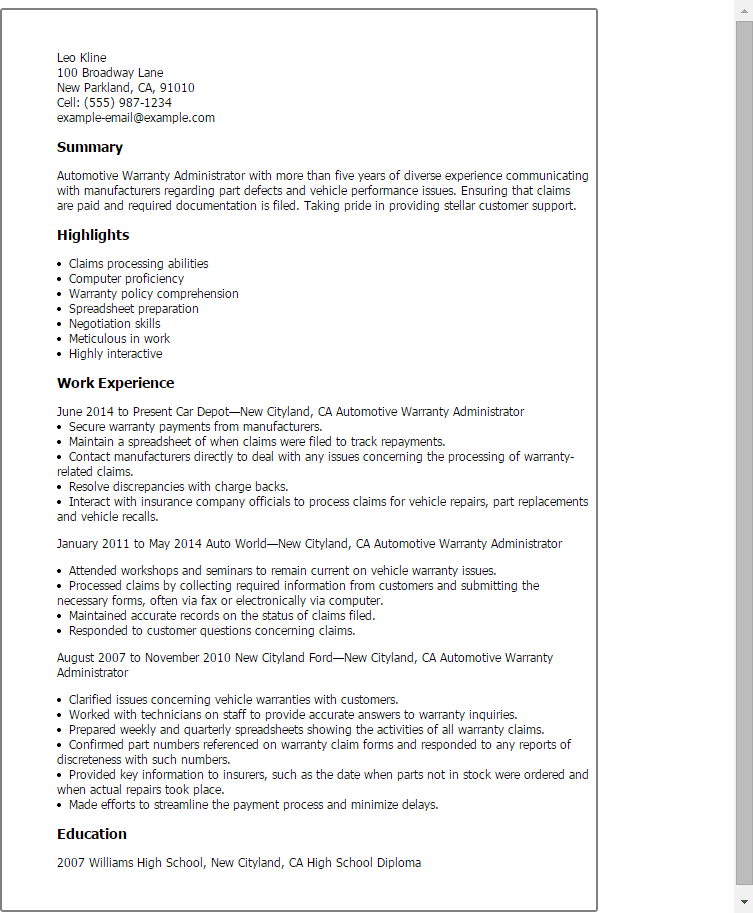 Automotive Warranty Administrator Resume Template — Best