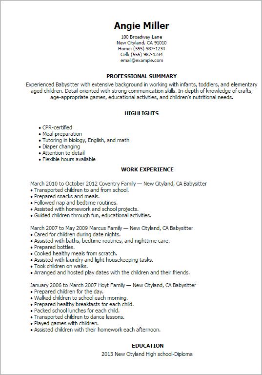 Babysitters Resume - Resume Sample