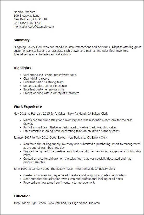 Good 1 Bakery Clerk Resume Templates Try Them Now Myperfectresume. Resume For Bakery  Worker ...