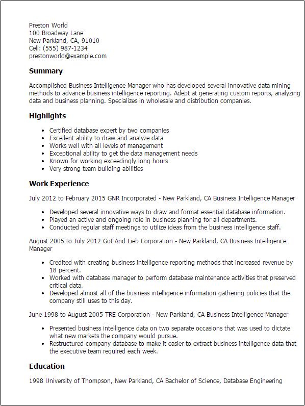 resume summary examples business intelligence
