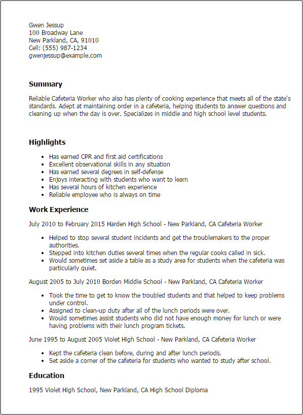 cafeteria worker cover letter