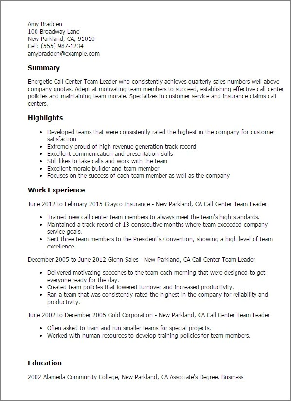 team leader resume examples - April.onthemarch.co
