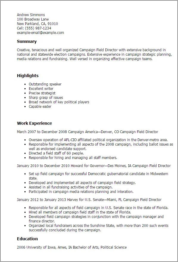 #1 Campaign Field Director Resume Templates Try Them Now