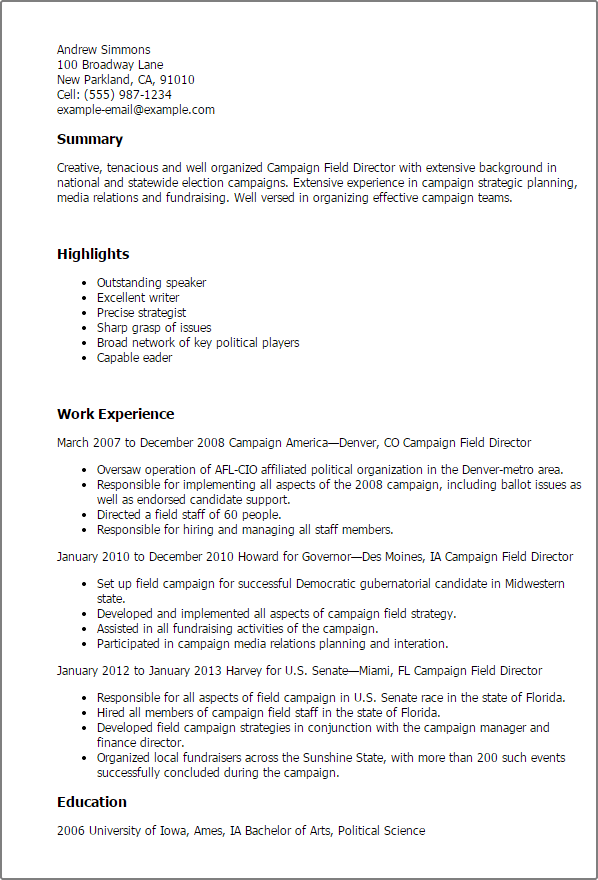 sample resume campaign worker