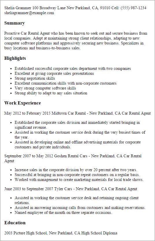 #1 Car Rental Agent Resume Templates Try Them Now