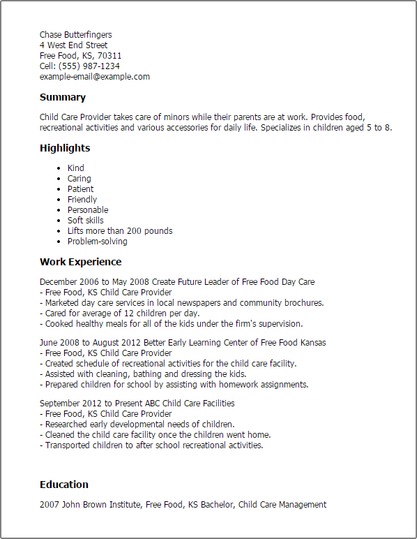 Child Care Provider Resume Template — Best Design & Tips ...