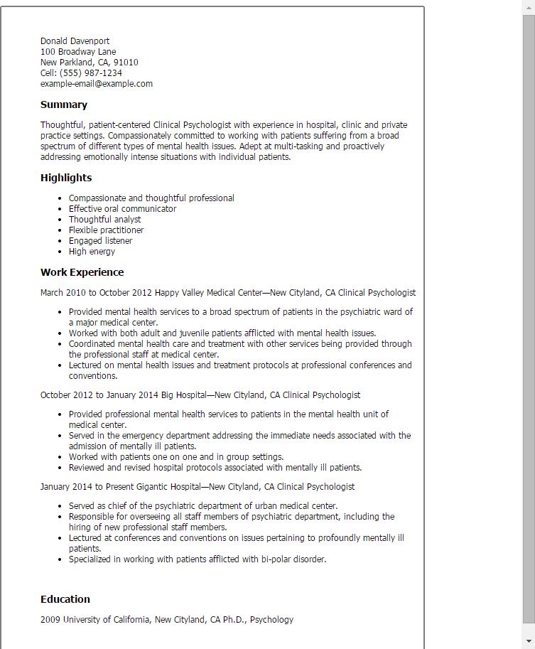 resume psychology