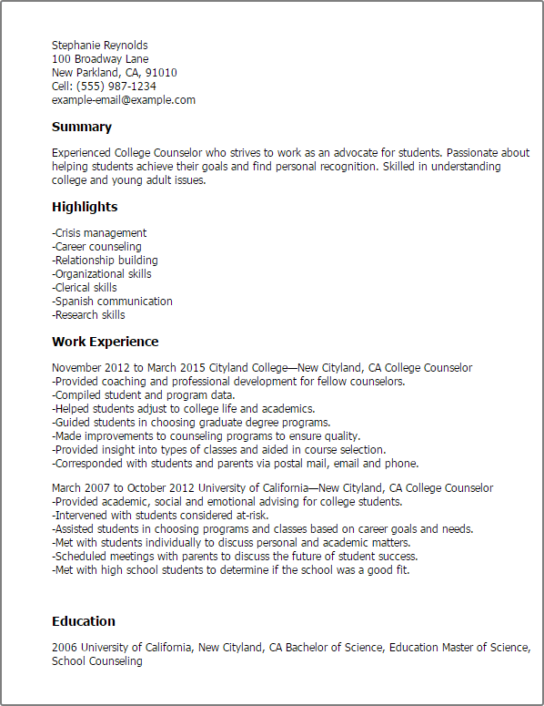 College Counselor Resume Template  Best Design  Tips  MyPerfectResume