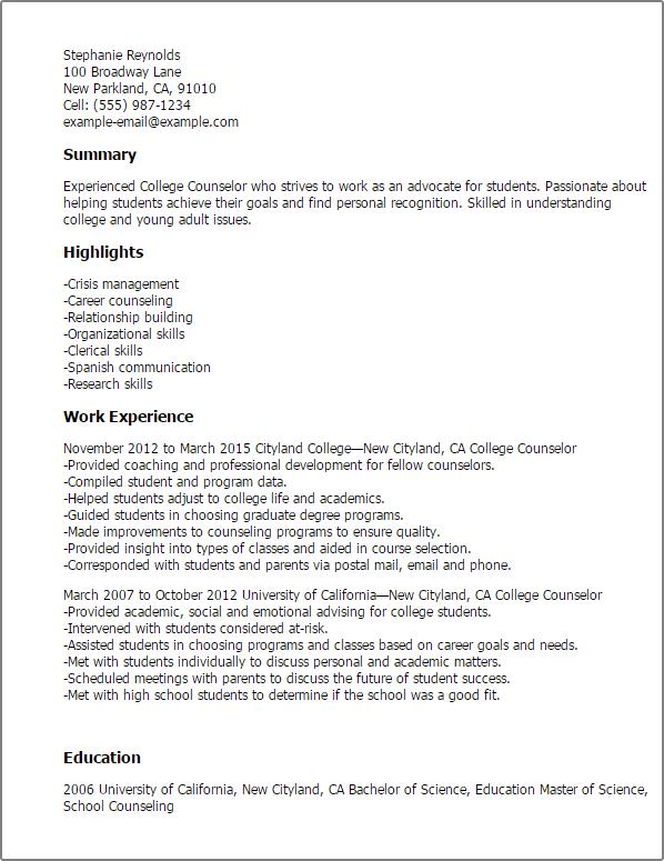 sample resume for residential advisor