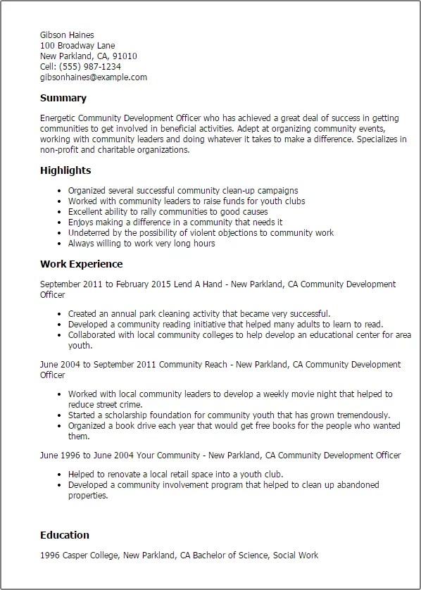 #1 Community Development Officer Resume Templates Try