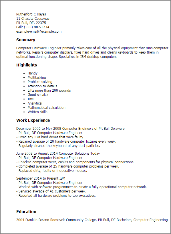 computer hardware technician resume example