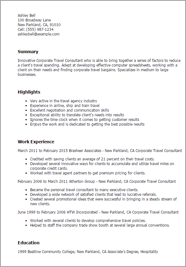 travel consultant resume examples