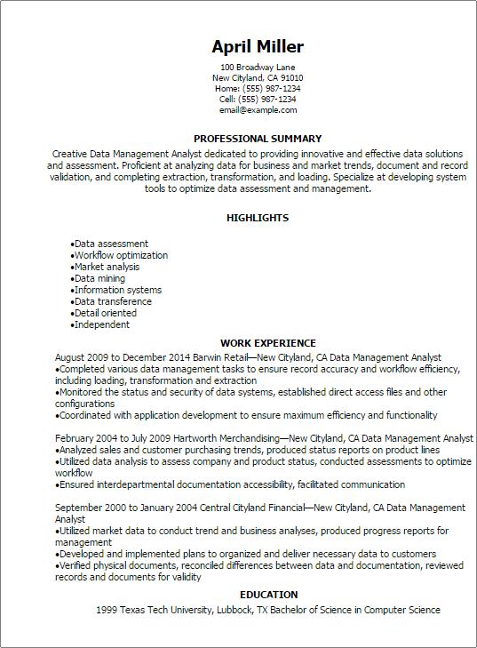 sample resume summary for data analyst