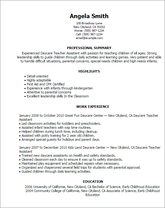 resume profile for daycare teacher