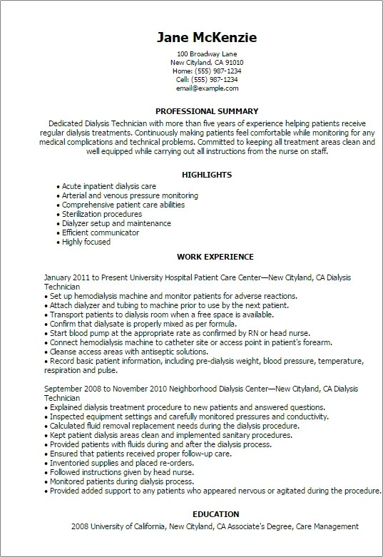 #1 Dialysis Technician Resume Templates Try Them Now