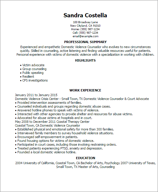 sample resume for domestic violence counselor