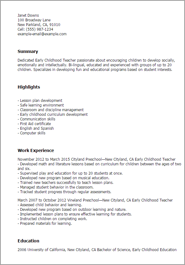 Early Childhood Teacher Resume Template — Best Design & Tips ...