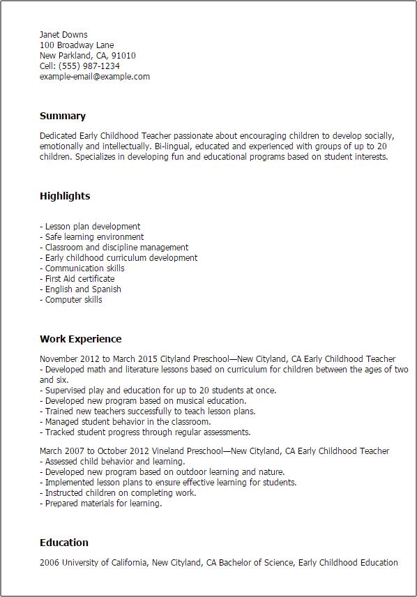 early childhood educator resume samples australia