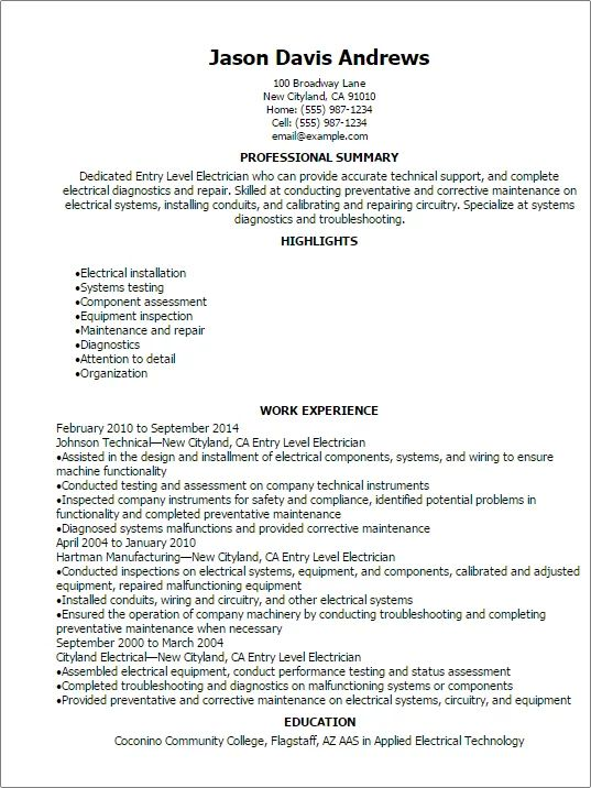 Entry Level Electrician Resume Examples