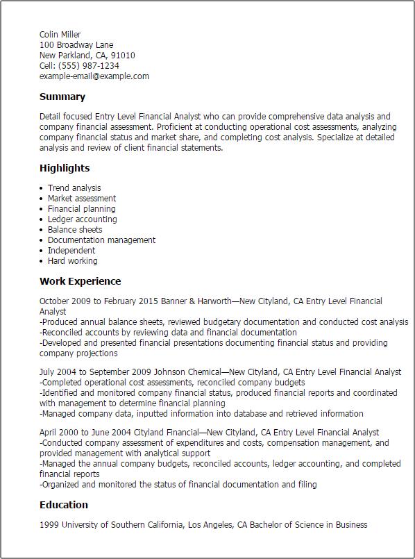 Entry Level Finance Resume Resume Sample