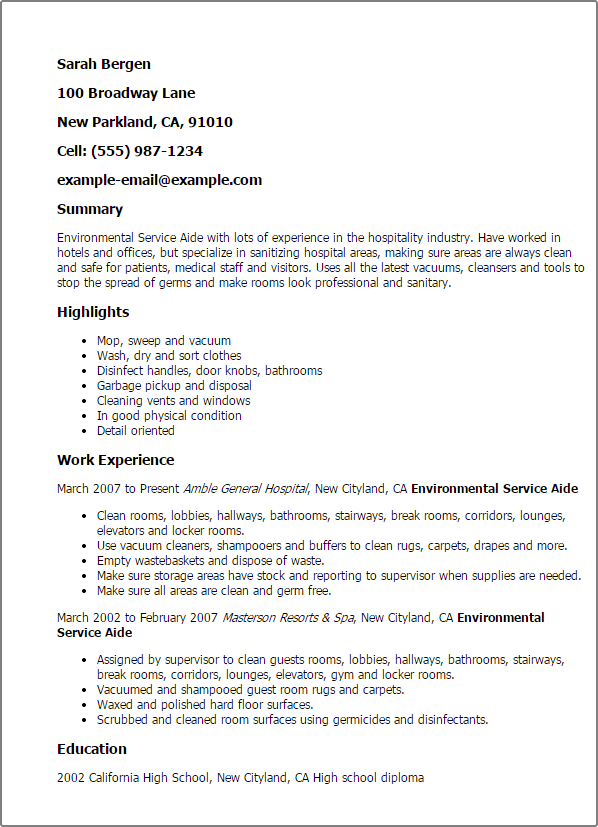 environmental services director sample resume