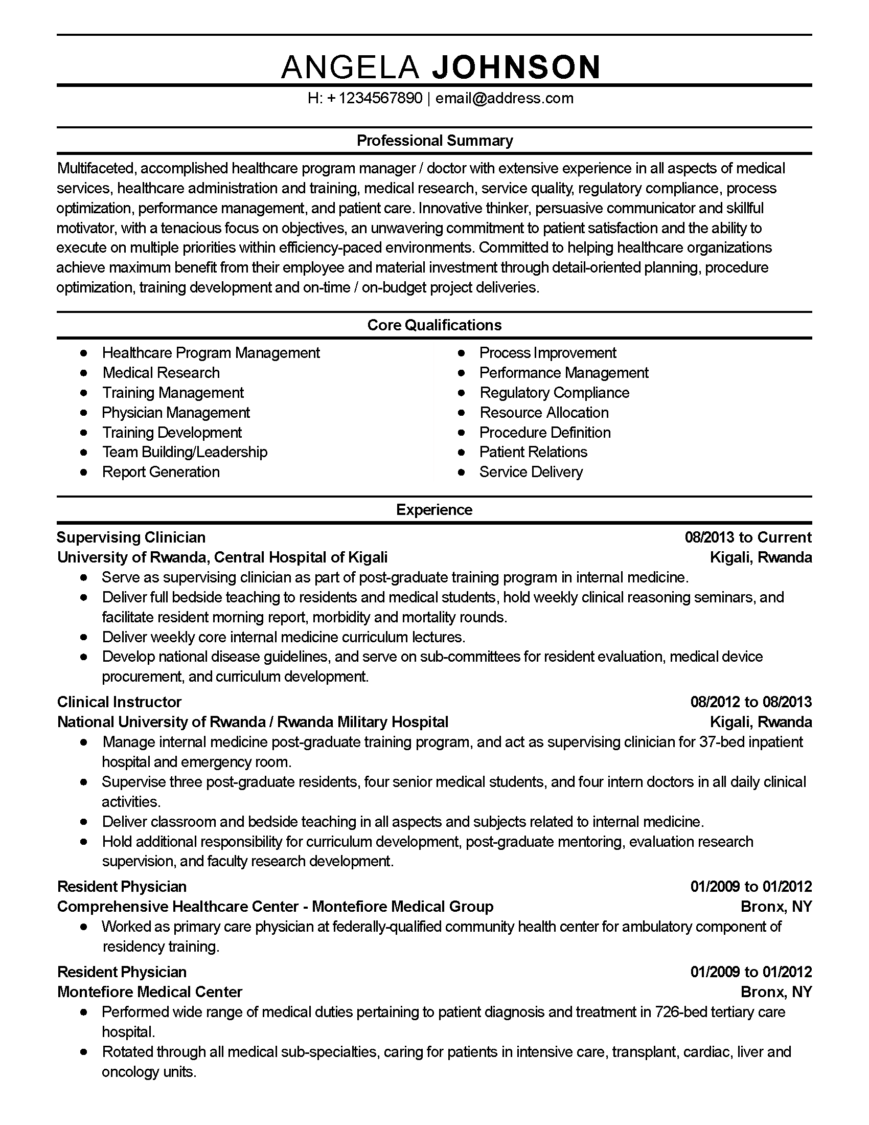 Resume Templates: Healthcare Program Manager