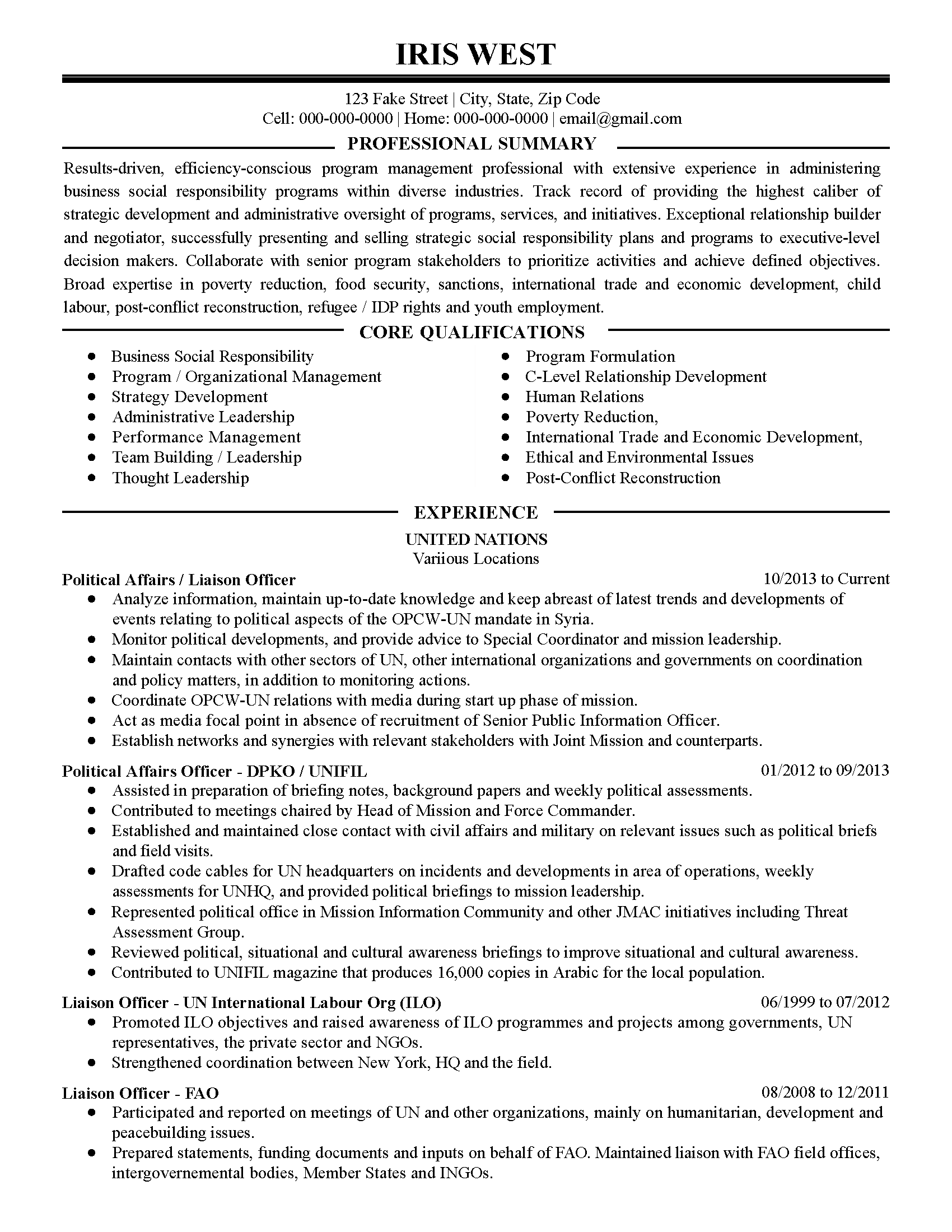 political candidate resume examples