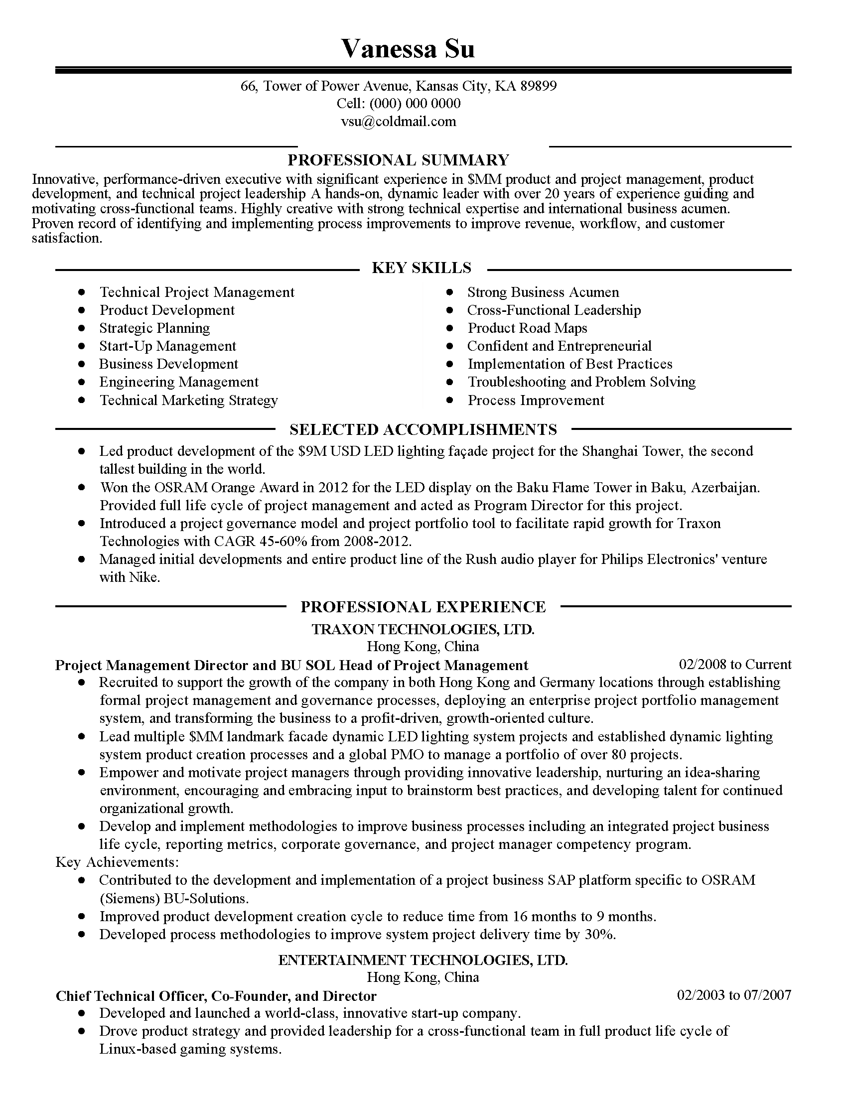 cross functional resume summary sample