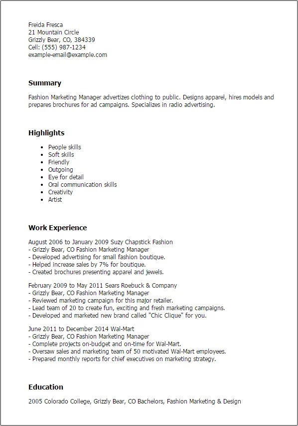 Fashion Marketing Manager Resume Template  Best Design  Tips  MyPerfectResume